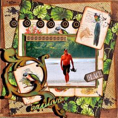 On The Beach Graphic 45 Tropical Travelogue scrapbook layout