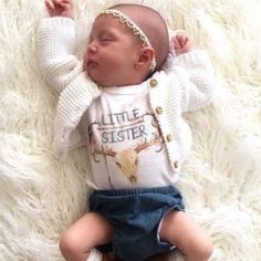 Little sister baby onesie - The Pine Torch. Boho baby fashion, baby girl clothing, sibling tees, baby announcement, take home newborn outfit.