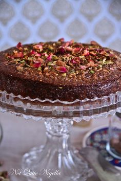armenian nutmeg cake - with a topping of honey, rose petals and pistachios.