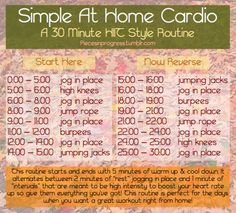 Simple At Home Cardio- A 30 minute HIIT style routine!  Classes have been extra busy recently and I just didn't have the time to get myself down to the gym tonight so instead I did this! It definitely worked up a sweat and got my heart racing (the first 5 minutes are deceptively easy!) without having to leave my dorm room. It's great for days like this when you're really short on time, days when the weather is just too awful to go outside or even days when you feel like staying