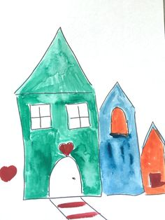 3 Colorful Houses Northpole Scene Green Red Blue by LilyMoonsigns