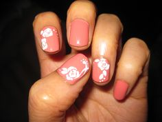 American Apparel nail polish in Rose Bowl and roses with white acrylic paint