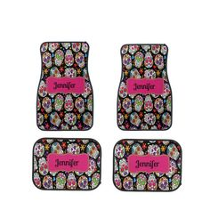 Car Mats Sugar Skull Personalized by FolkandFunky on Etsy