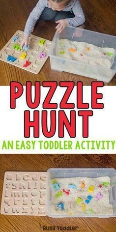 Puzzle Hunt Sensory Bin - Busy Toddler : Puzzle Hunt Sensory Bin - Busy Toddler What a great quick and easy toddler activity! Make a puzzle hunt sensory bin for a perfect indoor toddler activity! An easy toddler sensory bin. Toddler Sensory Bins, Preschool Learning Activities, Infant Activities, Kids Learning, Childcare Activities, Indoor Toddler Activities, Toddler Preschool, Toddler Games, Toddler Classroom