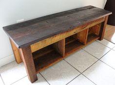 Handmade Bench Shelves Hidden Storage by thesummeryumbrella,