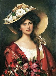 View Portrait of a young woman in a hat holding a bouquet of flowers by Albert Lynch on artnet. Browse upcoming and past auction lots by Albert Lynch. Victorian Women, Victorian Art, Female Portrait, Female Art, Woman Painting, Painting & Drawing, Vintage Art, Vintage Ladies, Vintage Woman