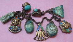Max Neiger Art Deco Tutankhamun Mummy Mask Egyptian Revival Unusual Charm Bracelet