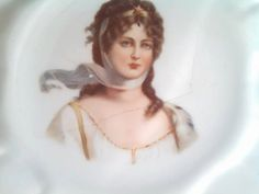 8 Vintage Lady on White Porcelain Plate by CrazyDeeDee on Etsy, $5.00