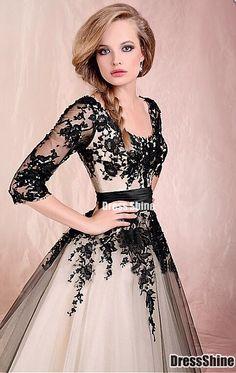Chic Tulle Scoop Neckline Half SleevesTea-length A-line Prom Dress