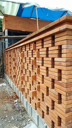 House ideas architecture brick walls new ideas Exterior Wall Design, Door Gate Design, Brick Design, Roof Design, Facade Design, House Design, Compound Wall, Brick Art, Brick Construction