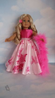 18 inch doll clothes - #259 Pink Floral Gown handmade to fit the American Girl Doll - FREE SHIPPING