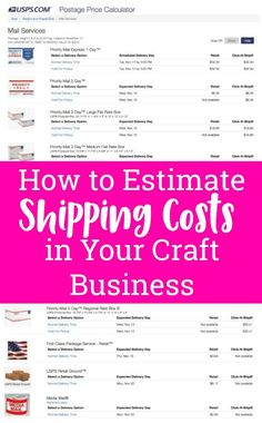 How to Estimate USPS Shipping in Your Craft Business - Business Plan - Ideas of Tips On Buying A House - How to Estimate USPS Shipping in Your Craft Business Great for Silhouette Cameo Curio Mint Cricut Explore or Maker crafters cuttingforbusines Business Planning, Business Tips, Online Business, Business Quotes, Craft Business, Home Based Business, Design Thinking, Customer Quotes, Starting An Etsy Business