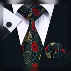 """This is brand new men's silk tie set. The set includes a coordinating silk tie, pocket square (handkerchief) and cuff links. Tie length is 61"""" from end to end, and 3.25"""" width at the widest part of the tie. Makes a great gift! **Please Note** This item requires three (3) weeks to ship. Please take shipping time into consideration when placing your order. This item is available for international shipping for $6.80. 