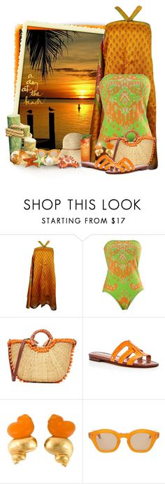"""""""A Day At The Beach"""" by majezy ❤ liked on Polyvore featuring Hale Bob, Sam Edelman and Hakusan"""