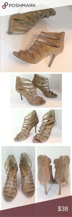"""Michael Kors Dark Khaki Mavis T Strap Heels Beautiful dark khaki suede covered in tiny crystals. Open toe with caged silhouette. Back zip. Leather lining and sole. Measurements: length 9.5"""", width 3.25"""", heels 3.5"""". They are in great condition overall but may be missing a crystal here and there. None noticeably. Comes with original box. MICHAEL Michael Kors Shoes Heels"""