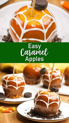 Easy Caramel Apples A seasonal MUST that the whole family can enjoy! These caramel apples are fool proof easy and fun to dress up for Halloween! The post Easy Caramel Apples appeared first on Halloween Candy. Hallowen Food, Halloween Food For Party, Halloween Treats, Halloween Halloween, Halloween Goodies, Easy Halloween Desserts, Halloween Makeup, Candy Recipes, Dessert Recipes