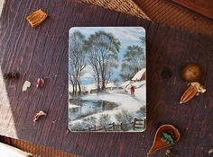 Vintage Metal Square Tin Box Winter Farmhouse Lake Picture Nature Rustic Blue Green Design Man Dog Walking Tins Boxes Container Home Storage