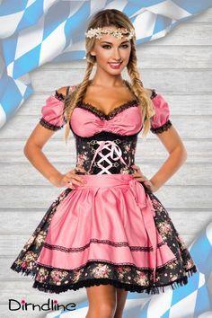 #Dirndl aus #Denim schwarz/rosa - My-Kleidung Onlineshop http://www.my-kleidung.de/sexy-kostueme/dirndl-oktoberfest-outfits/