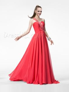 Dresswe.com SUPPLIES Sparkling A-line Sleeveless  Beading&Sequins One-Shoulder Sweep/Brush Train Evening/Prom Dress Evening Dresses 2014