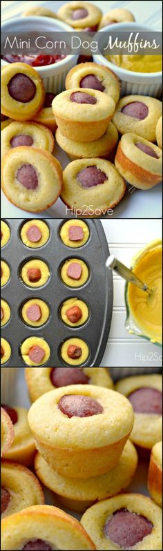 Enjoy these delicious and easy to make corn dog muffins. Great appetizers for parties, or when the kids are craving a snack. Enjoy these delicious and easy to make corn dog muffins. Great appetizers for parties, or when the kids are craving a snack. Corn Dog Muffins, Mini Corn Dog Muffin Recipe, Mini Muffins, Pizza Muffins, Pancake Muffins, Mini Pancakes, Pancakes Easy, Snacks Für Party, Appetizers For Party