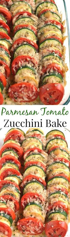 Parmesan Tomato Zucchini Bake is a simple recipe with layered fresh tomatoes, zucchini and summer squash topped with garlic, onions and parmesan cheese! www.nutritionistr...