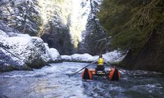 Taking in the tranquility of Basalt Gorge (West Fork of Hood River) in the snowy winters of Oregon. Even in the middle of winter, river pontooning is a fun and breathtaking outdoor activity! Discover more at traveloregon.com and www.discoveramerica.com