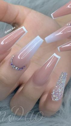 Acrylic Nail Designs Coffin, Classy Acrylic Nails, Bling Acrylic Nails, Acrylic Nails Coffin Short, Square Acrylic Nails, White Acrylic Nails, Best Acrylic Nails, Rhinestone Nails, Summer Acrylic Nails