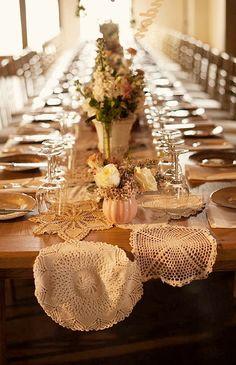doily table runner for your wedding