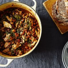 Chicken, Chard, and Cranberry Bean Stew Recipe on Cranberry Beans, Cooking Dried Beans, Cooking Fish, Chicken Plating, Cooking White Rice, Fall Dishes, Bean Stew, Recipe Directions, Food 52