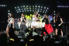 Which famous faces have been joining Taylor Swift on her star-studded world tour?