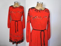 1970s Red Dress / accoridon floral / Large by badbabyvintage on Etsy