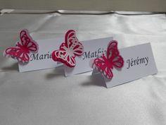 Pour annoncez les places de vos invités, marques place blanc avec papillon en 3 dimention, assorti à votre thème et à votre décoration théme Papillon... En papier de qual - 13058131