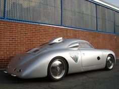 Porsche 356 silver bullet. Based on a 914-6 chassis, this car has been fitted with a mid-mounted 3-litre 911 engine with Weber carburettors, as well as a 915 5-speed gearbox. It was built by Australian Jeff Dutton in 1992.