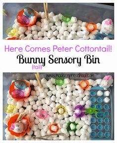 Sensory bin filled with bunny tails works on fine motor, counting, 1:1 skills from Modern Preschool