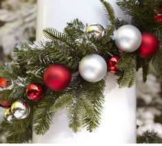 Add holiday cheer to your home with Pottery Barn's Christmas decorations, ornaments and lights. Pottery Barn has everything you need to put you in the Christmas spirit. Holiday Wreaths, Holiday Ornaments, Garden Ornaments, Christmas Holidays, Christmas Crafts, Christmas Ideas, Holiday Ideas, Christmas Garlands, Christmas Mantles