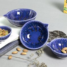 Cobalt Blue Ceramic Bowl Measuring Cup Nesting Prep Bowls image 4