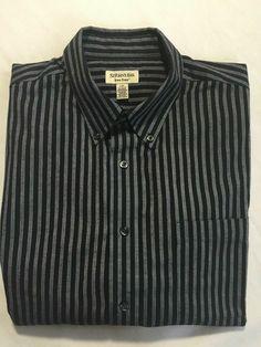 942ba9e76 St. John s Bay Black Striped Dress Shirt Size Large  StJohnsBay   ButtonFront Dress Shirt