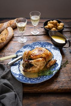 Whole roast chicken with herbs, white wine & cream recipe