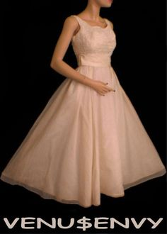 vintage 50's lace chiffon tea length wedding dress $150