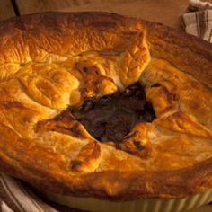 by bluefern. A delicious home made meat pie on a wooden table that makes your mouth water. Steak Ale Pie, Steak And Ale, Best Pie, Drink Photo, Just Bake, Baked Beans, Food Preparation, Food And Drink, Homemade