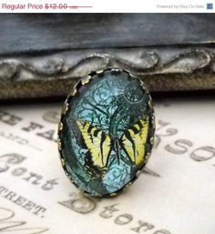 ON SALE GLASS Cabochon Butterfly Stempunk Art by lucindascharms, $10.80