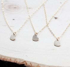 Bridesmaid Gift Set of THREE Tiny Heart Necklace by BijouxbyMeg