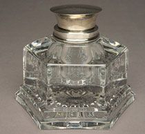 """Crystal and silver inkwell inscribed: """"This inkstand was used by Abraham Lincoln during his presidency. John Hay."""""""