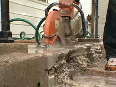 DIY experts demonstrate how to fix a crumbling concrete step.