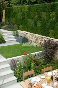 Like the hardscape materials with patches of green. Like the hardscape materials with patches of gre Back Gardens, Small Gardens, Outdoor Gardens, Garden Deco, Terrace Garden, Tiered Garden, Garden Steps, Most Beautiful Gardens, Small Garden Design