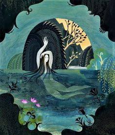 Arethusa, Spirit of the Rivers and Springs of Surákousai. Art: Sarah Young image Arethusa Bathing