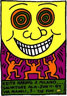 "This ""Keith Haring A Milano printable poster is high resolution and can be printed as big as size x 841 mm / 300 dpi / RGB color) with flawless gallery-like quality. Bad Painting, K Haring, Principles Of Art Unity, Acid Trip Art, Keith Allen, Pop Art, James Rosenquist, Keith Haring Art, Wedding Tattoos"