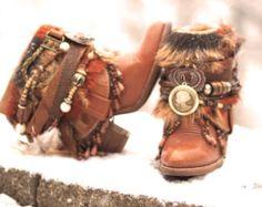 Upcycled personnalisé REWORKED perles vintage boho bottes festival bottes gitane bottes bottines avec ceinture bottes bottines cuir