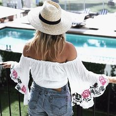 Remind of lazy summer dayz. : @seewantshop #embroidery... Could I buy this? Love it <3 #outfit #style #Cute #ootd