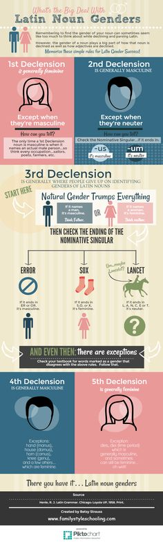 Info graphic for Latin Noun Genders